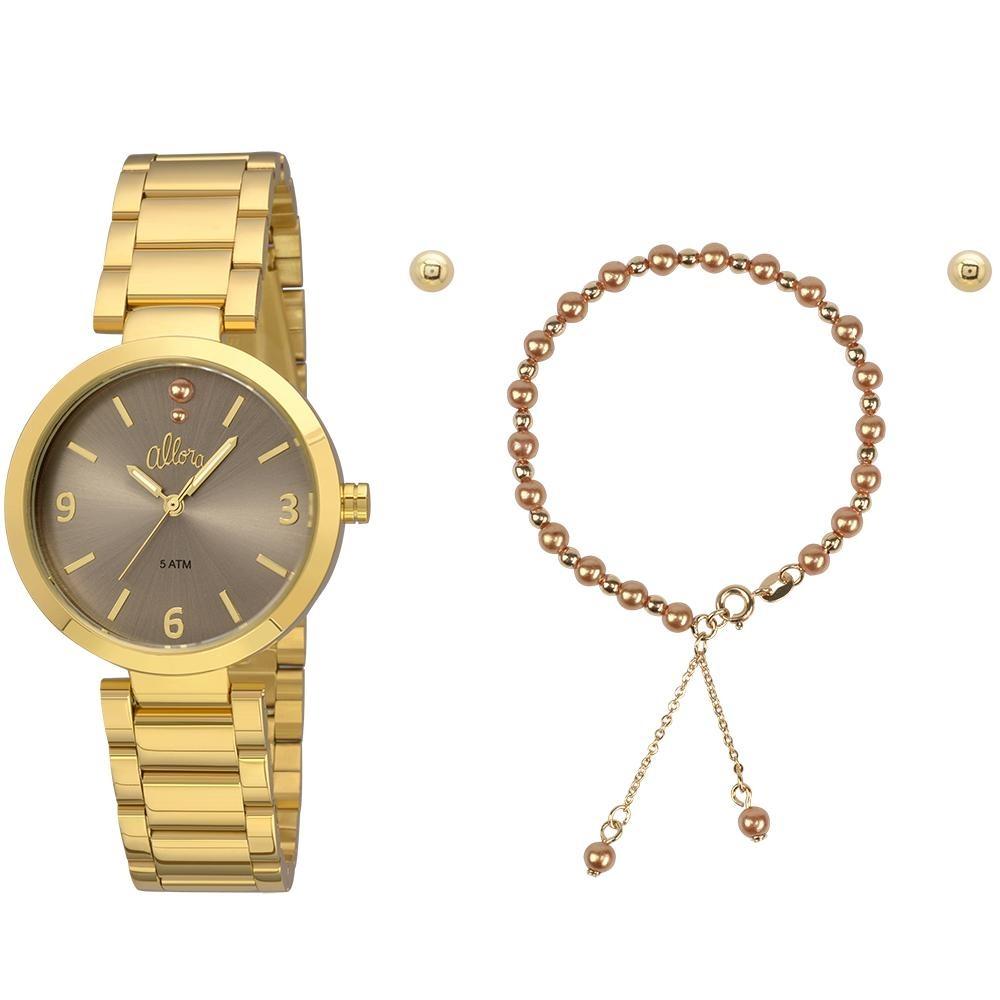 kit relógio allora feminino perolas al2036fie k4m - dourado. Carregando  zoom. 16243f06b5
