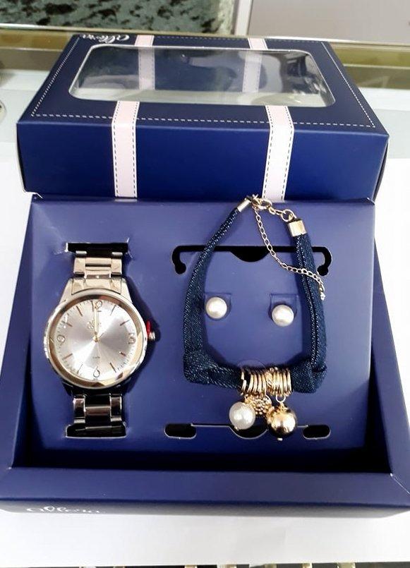 4f186d9cb0c kit relógio allora prateado + conjunto folheado a ouro. Carregando zoom.
