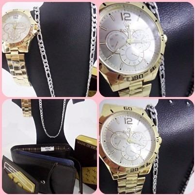 kit relógio carteira couro correntinha inox antialérgica