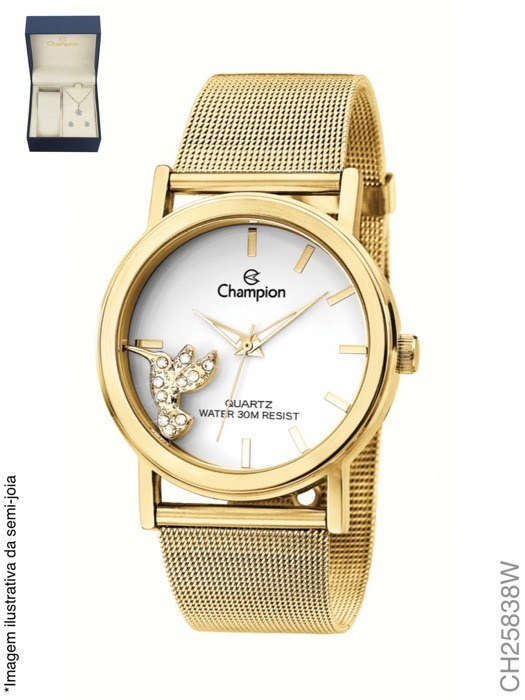6e8ffbca3a6 Kit Relógio Champion + Brinde Conjunto Colar Brinco Ch25838w - R ...