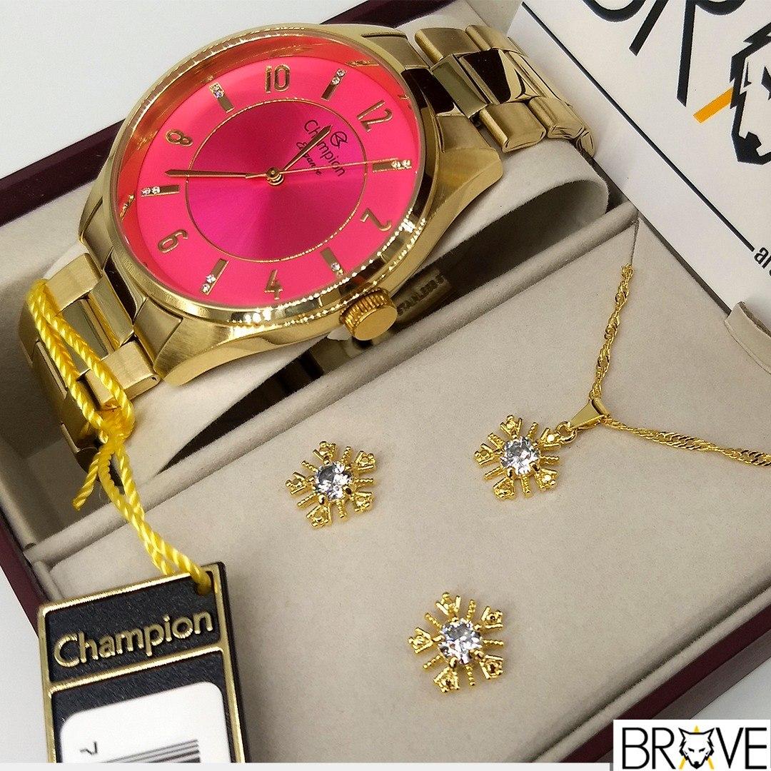 0fb721f40f5 kit relógio champion dourado rosa + colar brincos original. Carregando zoom.