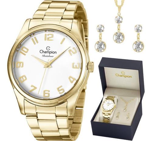 kit relógio champion feminino barato + brinde garantia nfe
