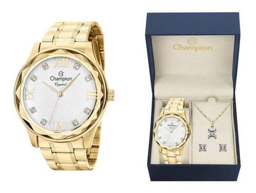 kit relógio champion feminino cn27465w colar e brincos