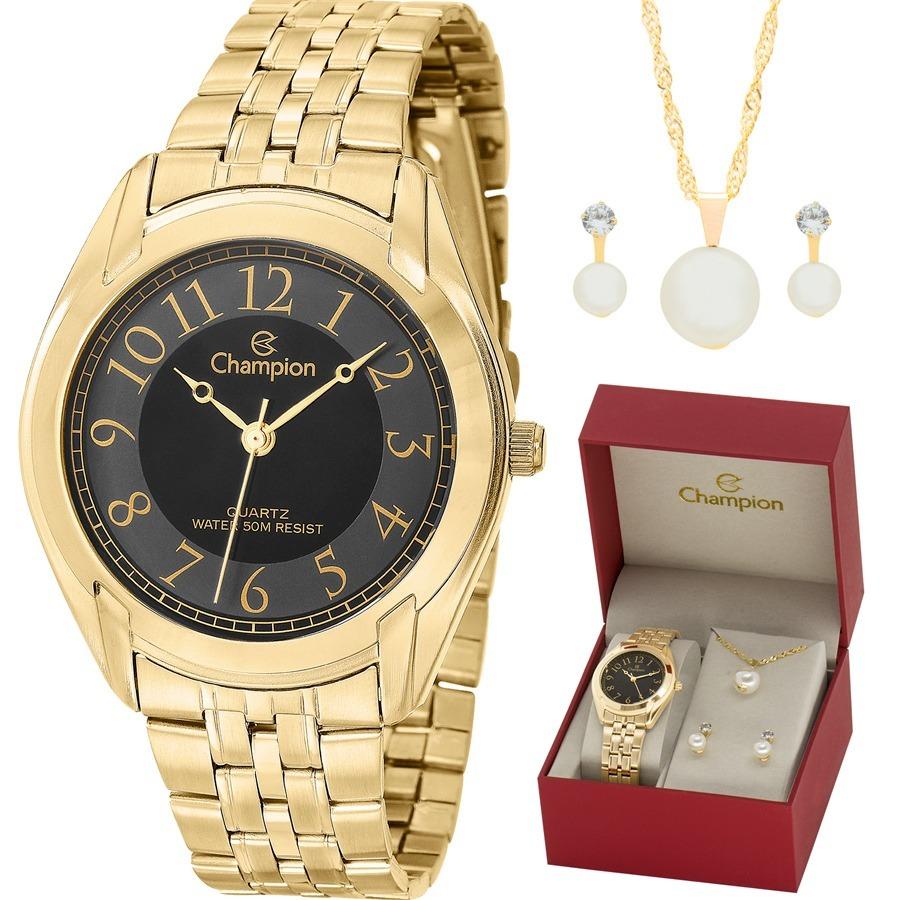 379206149fc kit relógio champion feminino com colar e brincos ch22019k. Carregando zoom.