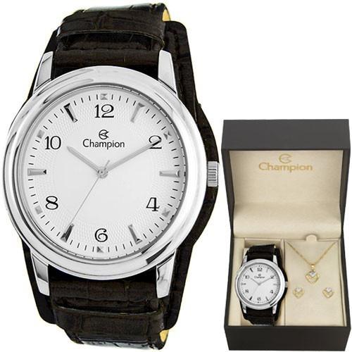kit relógio champion feminino com colar e brincos cn20195c