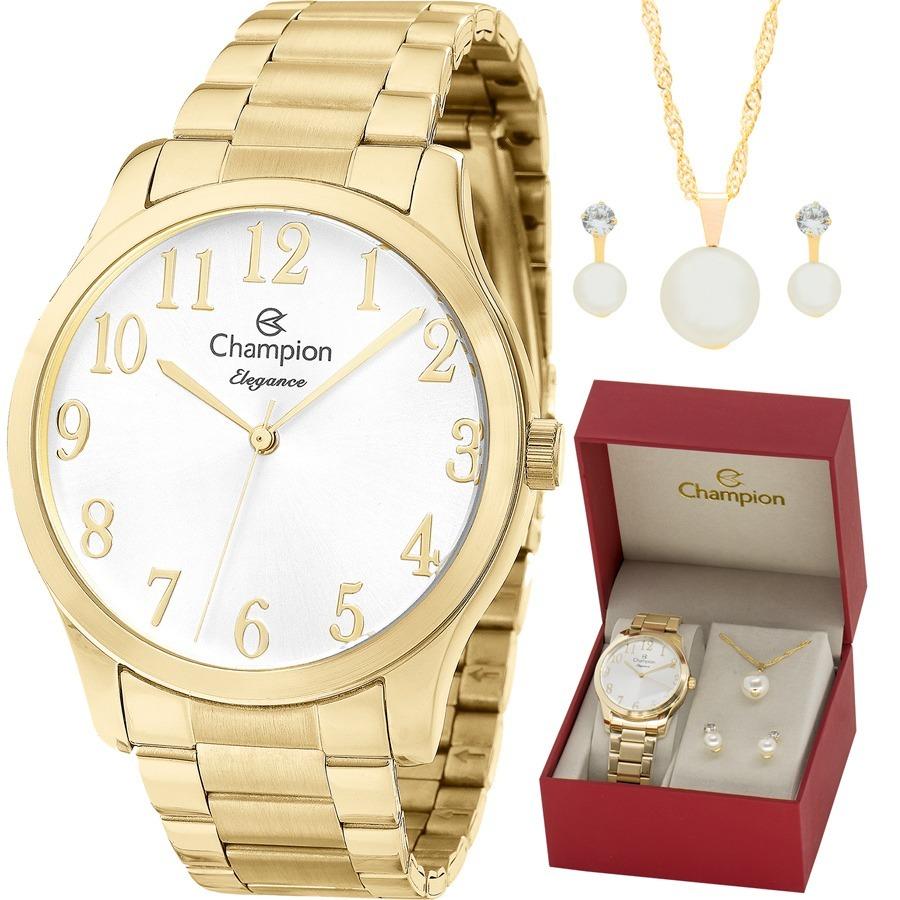 5431aad84 kit relógio champion feminino com colar e brincos cn26019w. Carregando zoom.