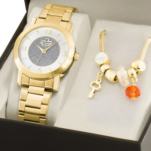 kit relógio champion feminino com pulseira cn25136s
