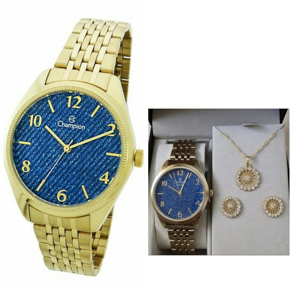 9d133d5d37e kit relógio champion feminino dourado fundo azul jeans. Carregando zoom.