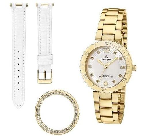 kit relógio champion feminino dourado troca aro e pulseira