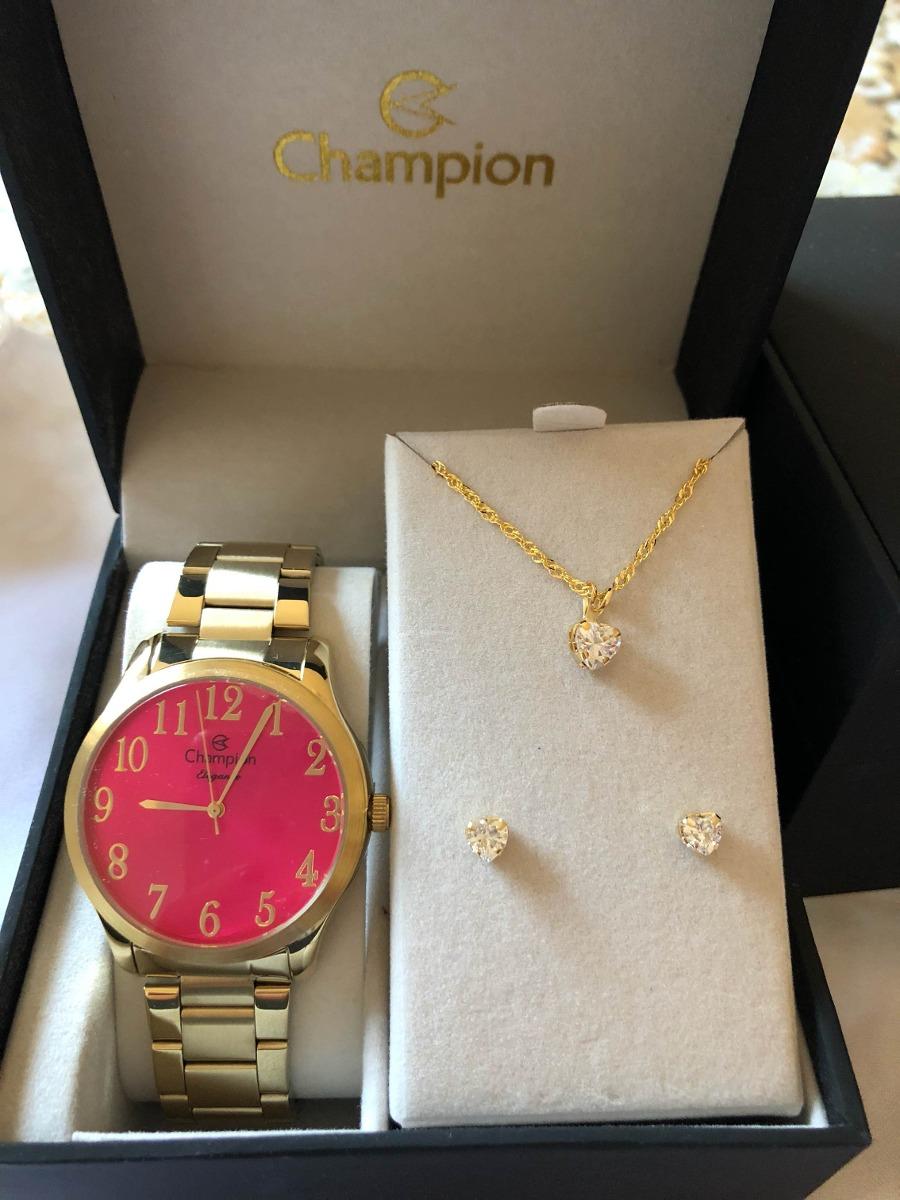a781c4acc60 kit relógio champion feminino mostrador rosa cn26019j. Carregando zoom.