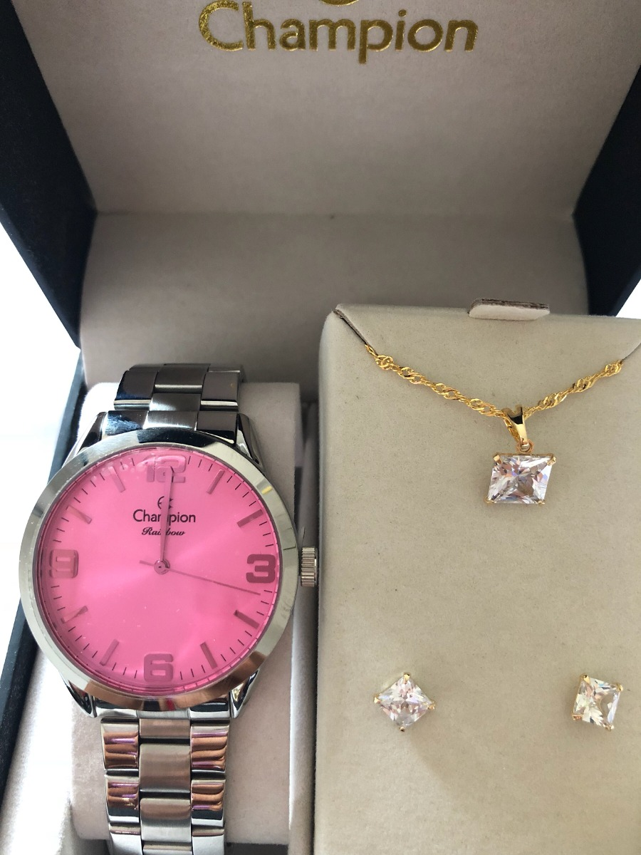 94857d55fc0 kit relógio champion feminino prata mostrador rosa cn29892h. Carregando  zoom.