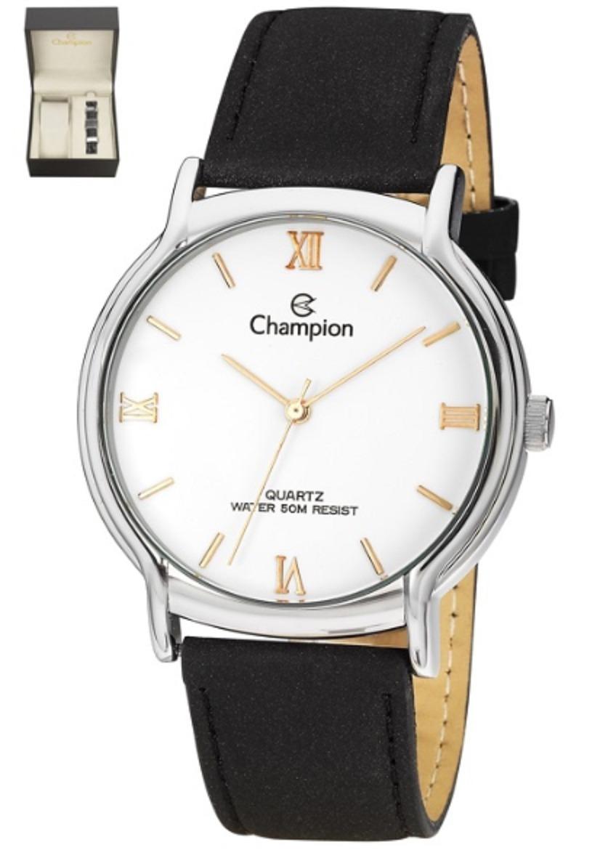 5fb4db3470c kit relógio champion feminino pulseira couro preto cn20006i. Carregando  zoom.