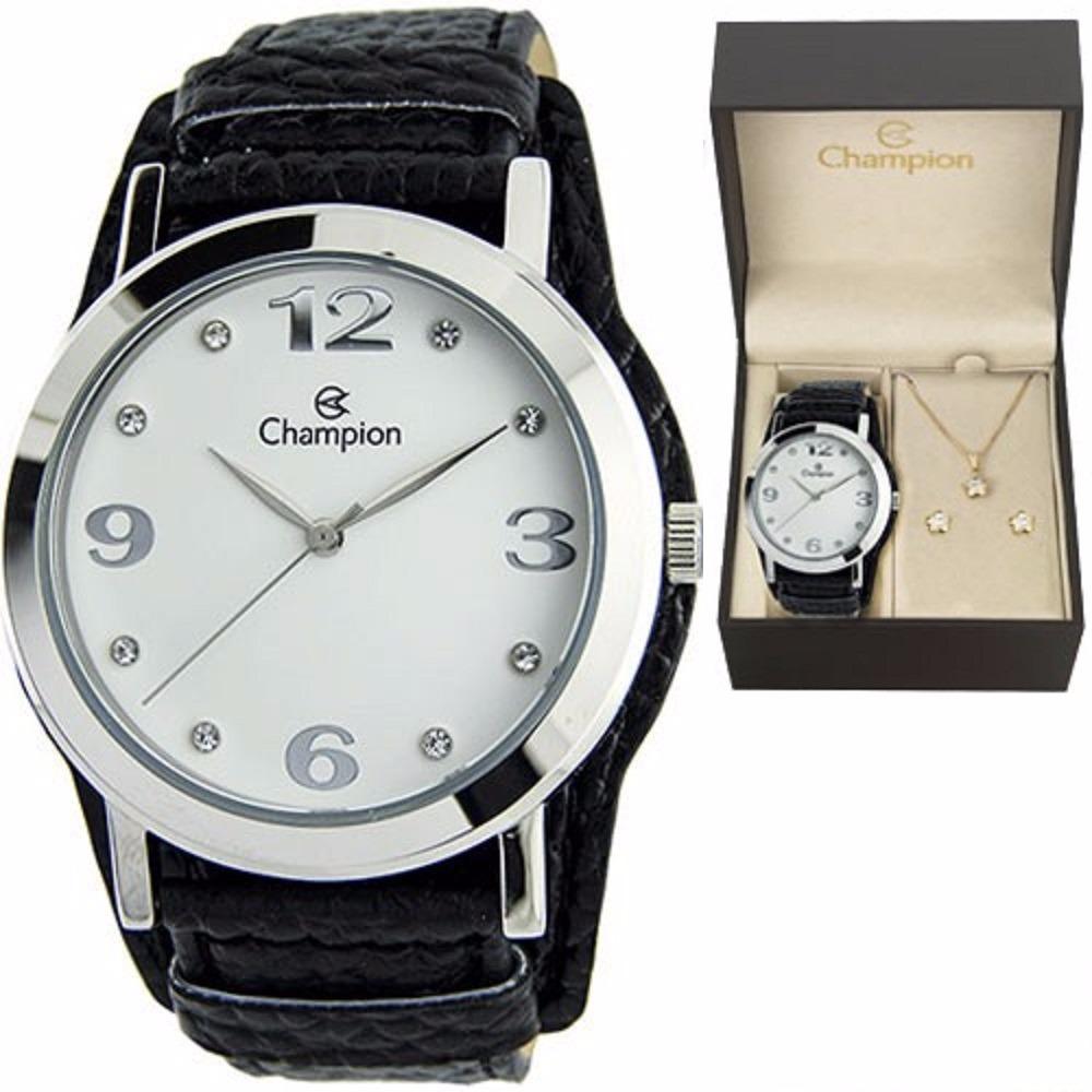 eb1b10abf4e kit relógio champion feminino pulseira couro preto cn20202c. Carregando zoom .