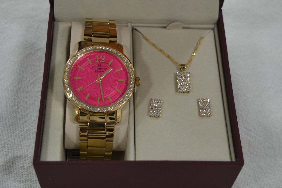 9f862b2c0fd kit relógio champion feminino rosa cn29445j com colar brinco. Carregando  zoom.