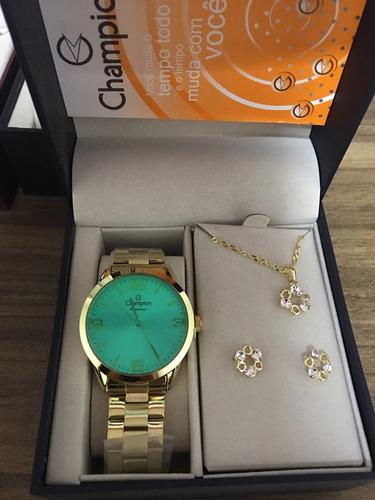 kit relógio champion feminino vidro verde com semi jóias