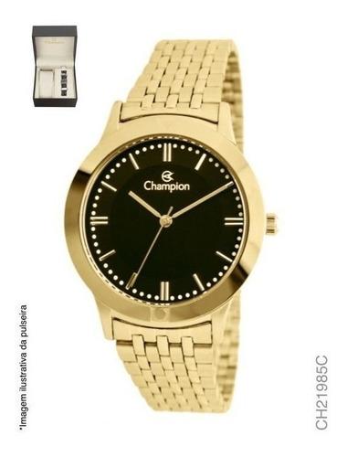 kit relógio champion masculino ch21985c dourado + pulseira