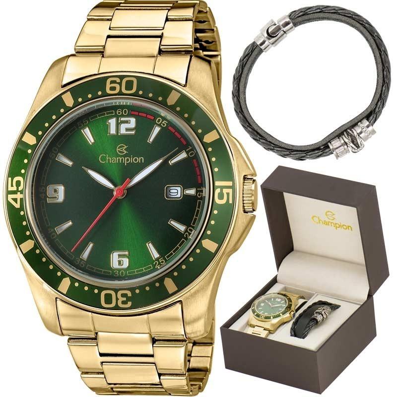 786f5b80df4 kit relógio champion masculino com pulseira ca30132e. Carregando zoom.