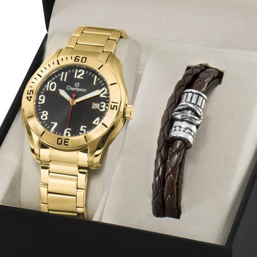 kit relógio champion masculino com pulseira nota ca31284c