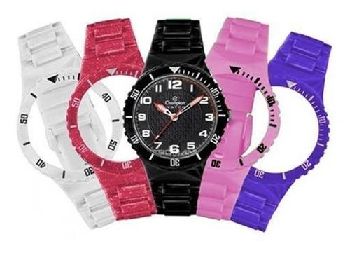 kit relógio champion troca pulseira unissex