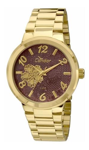 kit relógio condor co2036dbk4r dourado com brinco cordao