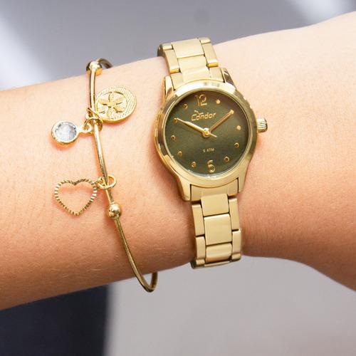 kit relógio condor feminino barato garantia co2035knd/k4v