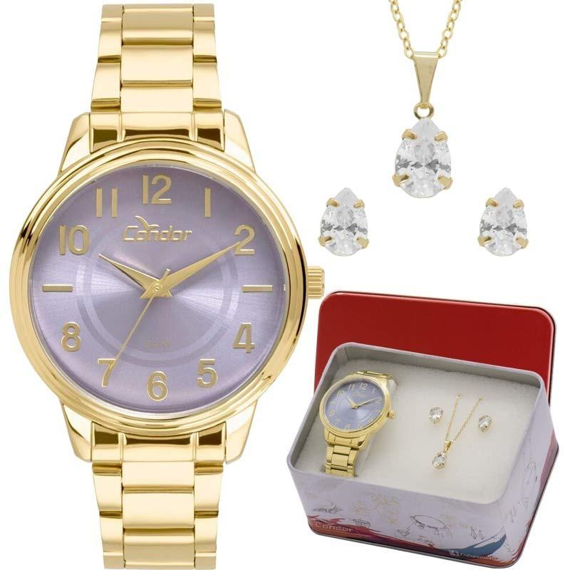 kit relógio condor feminino colar e brincos co2035kuu k4g. Carregando zoom. b84da24b08