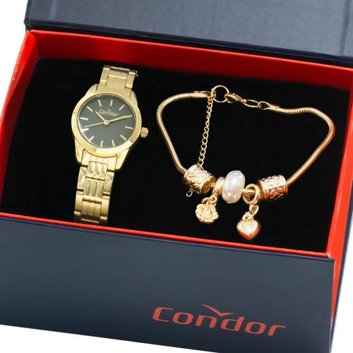 kit relógio condor feminino com pulseira nota co2035kmx/k4v