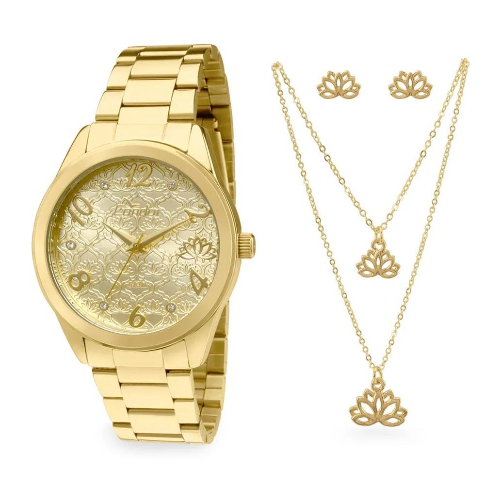 d78715b0d4 kit relógio condor feminino dourado amuletos co2036kom k4d. Carregando zoom.