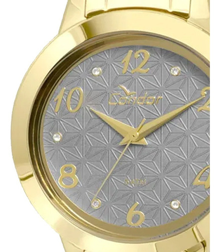 kit relógio condor feminino dourado banhado à ouro