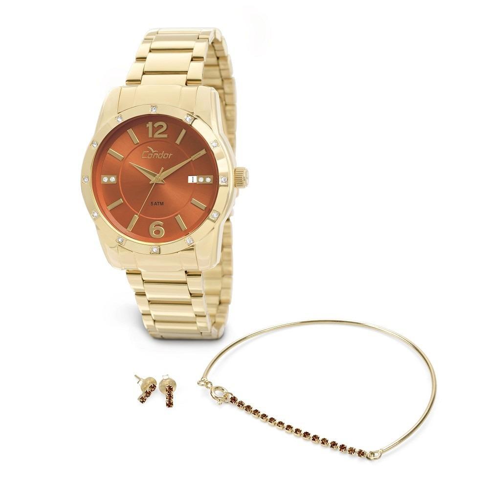 kit relógio condor feminino pulseira e brincos co2115st 4x. Carregando zoom. 1429b4505b