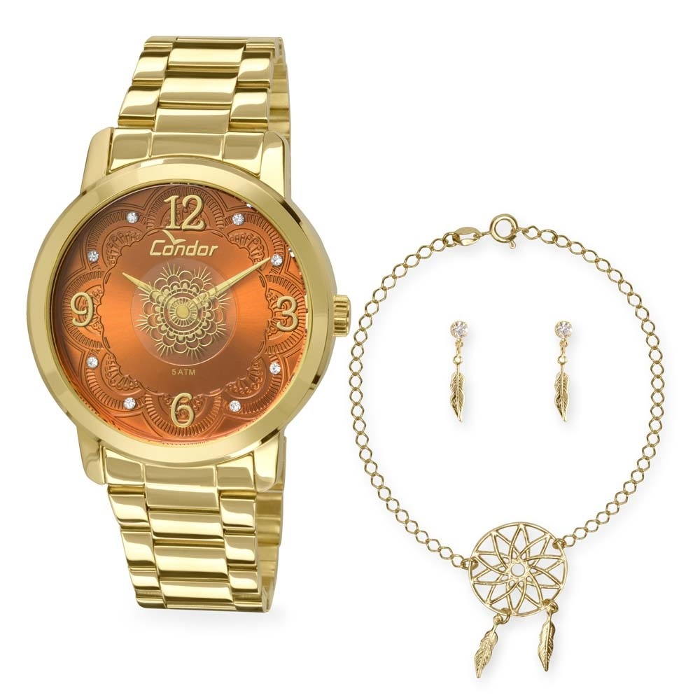 ee2de6a7e60 kit relogio condor mandala feminino com pulseira e brincos -. Carregando  zoom.