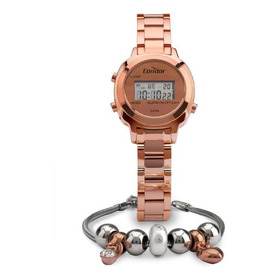 Kit Relógio Condor Mini Rose Digital Feminino Cojh512aj/k4j
