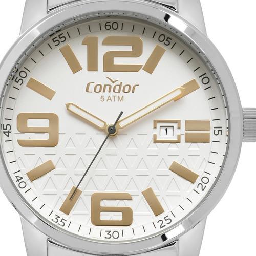 kit relógio condor prata original brinde colar co2115kup/k3k