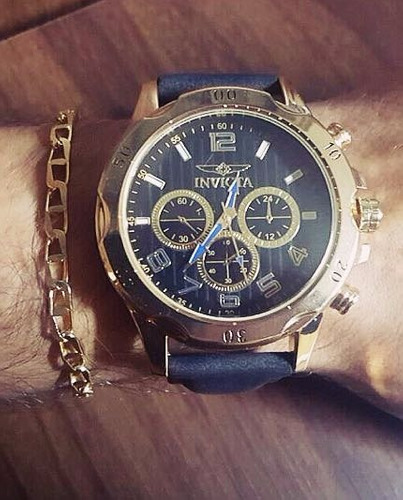 kit relógio couro masculino + pulseira folheada + caixa!