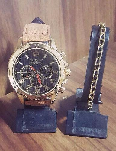 kit relógio couro social masculino + pulseira folheada!