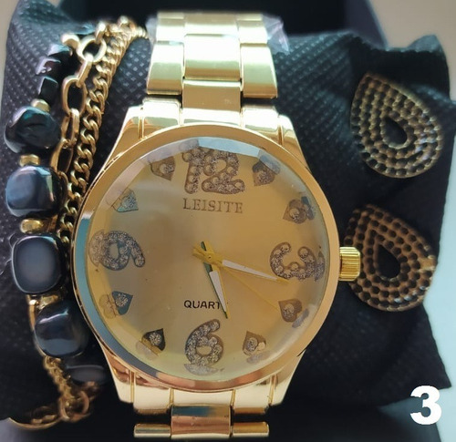 kit relógio de luxo + brincos + pulseira + caixa