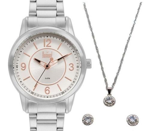kit relógio dumont feminino prata original barato