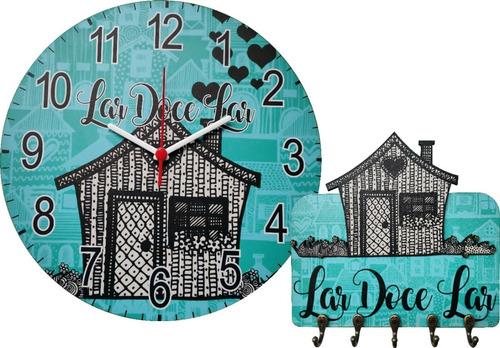 kit relógio e porta chaves lar doce lar casinha