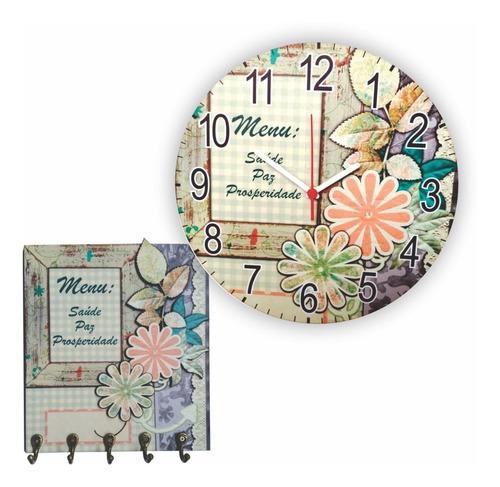 kit relógio e porta chaves lar doce lar flor