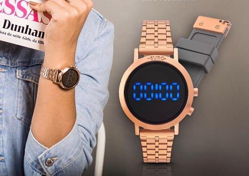 kit relógio euro digital dourado eujhs31bab/4d eubj3407ac/t4