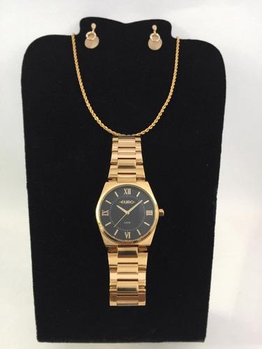 kit relógio euro feminino dourado eu2035yp/dbw