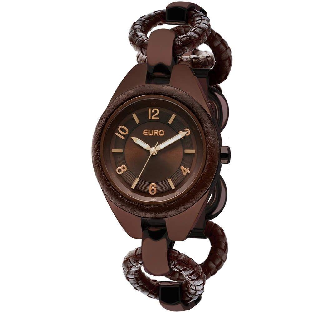 c34ba13a61 kit relógio euro minsk marrom + óculos de sol euro eu15oc 8. Carregando  zoom.