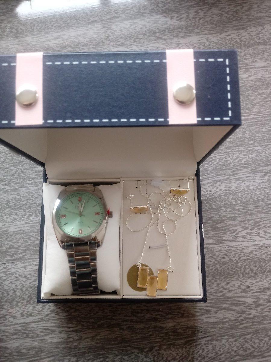 5974aea44 kit relógio feminino allora al2035f prata pulseira e brincos. Carregando  zoom.