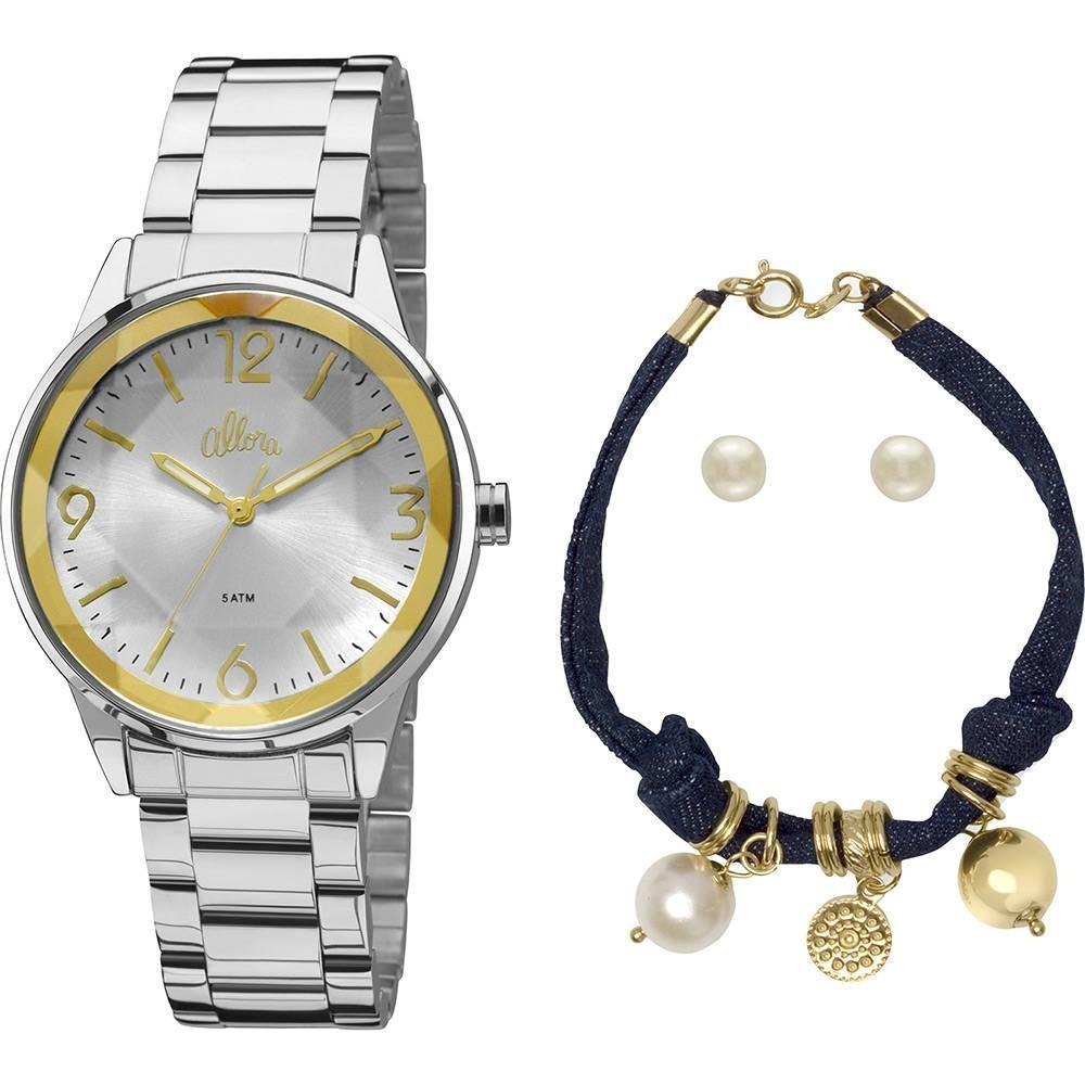 e4900c98c kit relógio feminino allora al2035fat k3k pulseira brincos. Carregando zoom.