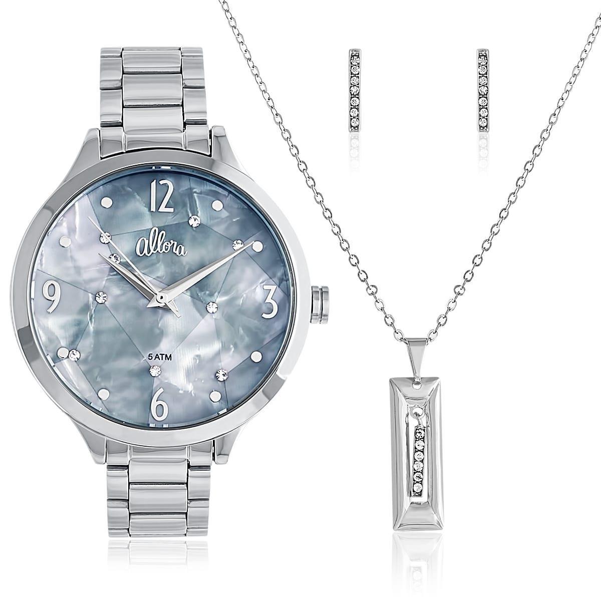 kit relógio feminino allora al2036fif k3 prata colar brincos. Carregando  zoom. e82485019b