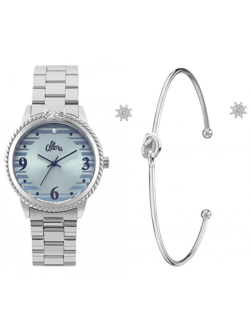 0009a8869 kit relógio feminino allora al3035fkr k3a pulseira brincos. Carregando zoom.