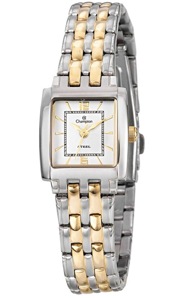 85e22c17d1d kit relógio feminino champion aço quadrado pequeno cs28343w. Carregando  zoom.