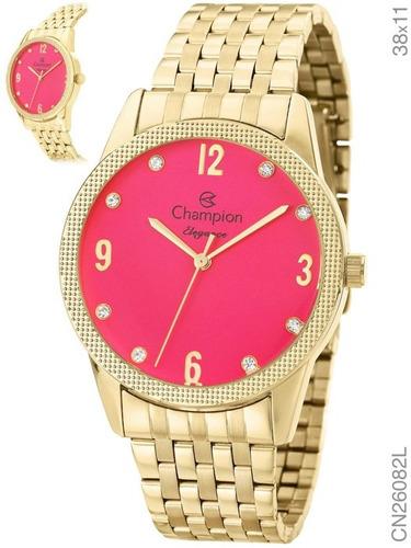 kit relógio feminino champion  dourado cn26082j f. grátis