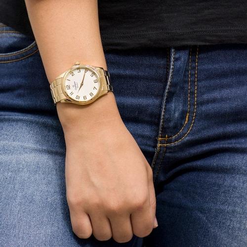 kit relógio feminino champion dourado original barato