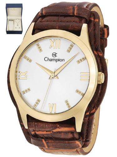 kit relógio feminino colar e brinco champion pulseira couro